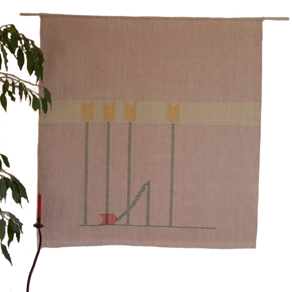 Textiles Bild – Rot fällt