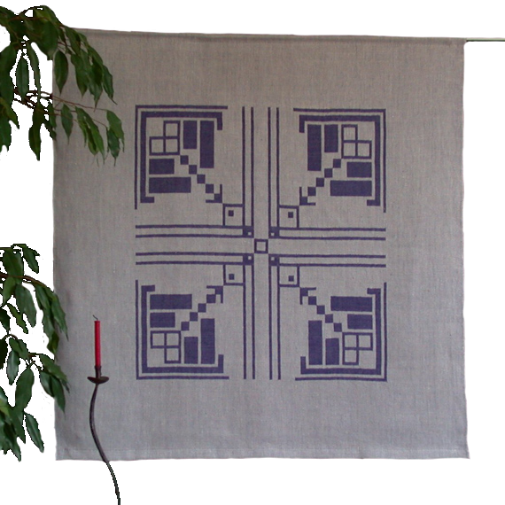 Textiles Bild – Art deco Blau