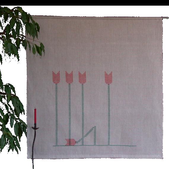Textiles Bild – Tulpen